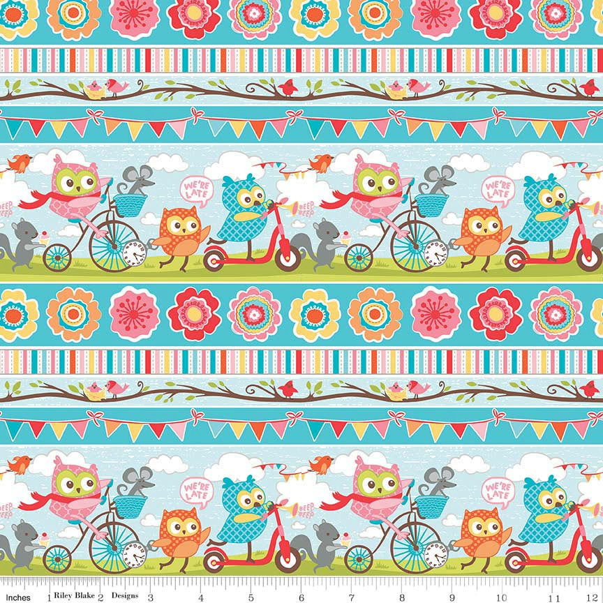 Tree Party Stripe Blue by Riley Blake Designs - Bikes Owls Pink Yellow - Quilting Cotton Fabric