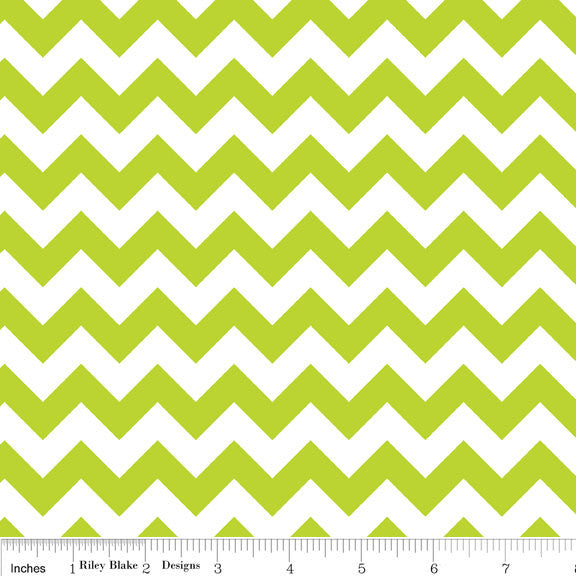 CLEARANCE Small Chevron Lime Green and White - Riley Blake Designs - Jersey KNIT cotton lycra spandex stretch - by the yard