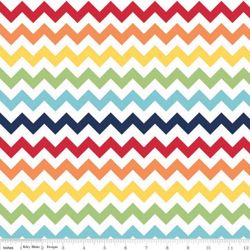 Small Chevron Rainbow by Riley Blake Designs - Jersey KNIT cotton lycra spandex stretch fabric