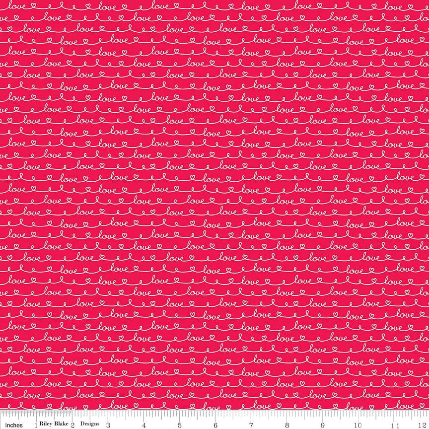 Lovebugs Collection Love Red by Riley Blake Designs - Valentine Text - Quilting Cotton Fabric