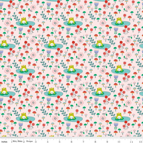CLEARANCE Princess Dreams Frogs Pink by Riley Blake Designs - Floral Flowers - Quilting Cotton Fabric - by the yard
