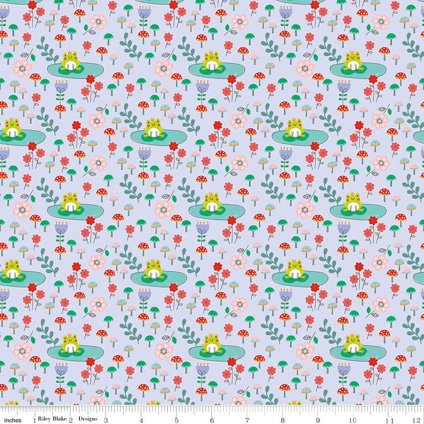 CLEARANCE Princess Dreams Frogs Purple by Riley Blake Designs - Floral Flowers - Quilting Cotton Fabric - by the yard