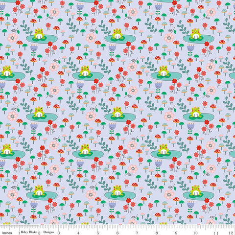 SALE Princess Dreams Frogs Purple by Riley Blake Designs - Floral Flowers - Quilting Cotton Fabric - choose your cut