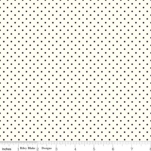Black Swiss Dots on Cream Le Creme by Riley Blake Designs - Polka Dot - Quilting Cotton Fabric