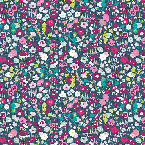 Lavish Pretty Ditsy Dream by Art Gallery - Floral gray pink aqua - Jersey KNIT cotton lycra stretch fabric