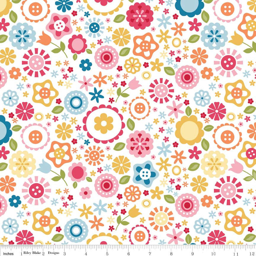 SALE Fine and Dandy Floral White for Riley Blake Designs - Flowers Pink Orange Blue - Cotton FLANNEL Fabric - choose your cut
