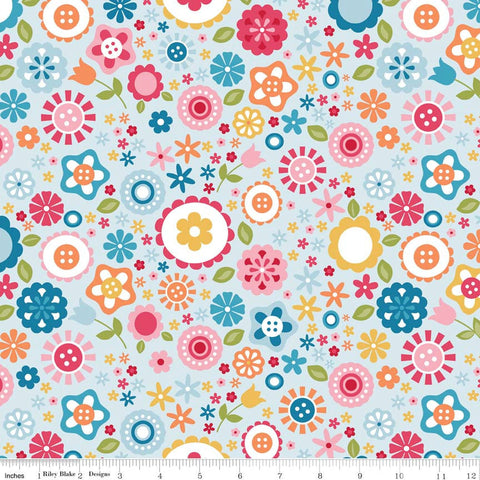 SALE Fine and Dandy Floral Blue for Riley Blake Designs - Flowers Pink Orange Yellow - Cotton FLANNEL Fabric - choose your cut