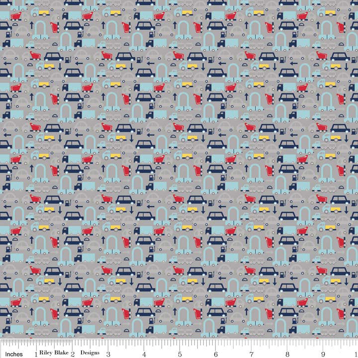 SALE Cars Gray Holiday Banners by Riley Blake Designs - Auto Vehicle Trucks - Quilting Cotton Fabric - choose your cut