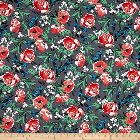 CLEARANCE Bed of Roses Pearl by Michael Miller - Gray Coral Green Lily Flowers Floral - Quilting Cotton Fabric - 1.5 yard end of bolt
