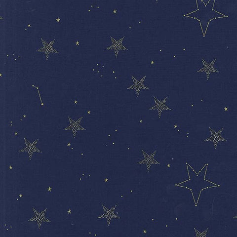 Magic Lucky Stars Navy METALLIC by Sarah Jane for Michael Miller - Gold Blue -Quilting Cotton Fabric - choose your cut