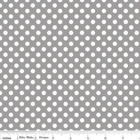 SALE Gray Small White Dots by Riley Blake Designs - grey white polka dots - Quilting Cotton Fabric