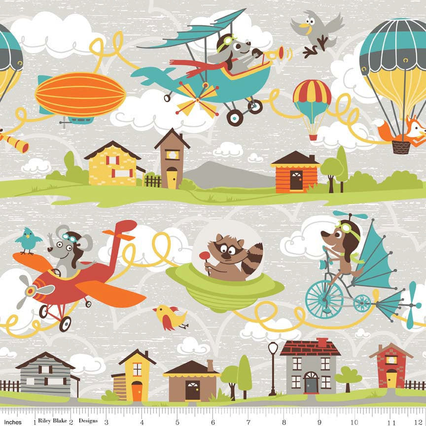 Little Flyers Main Gray by Riley Blake Designs - Airplane Flying Balloon - Quilting Cotton Fabric