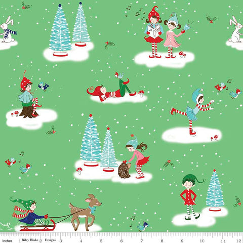 Pixie Noel Main Green by Riley Blake Designs - Christmas Trees Ice Skating - Quilting Cotton Fabric - choose your cut