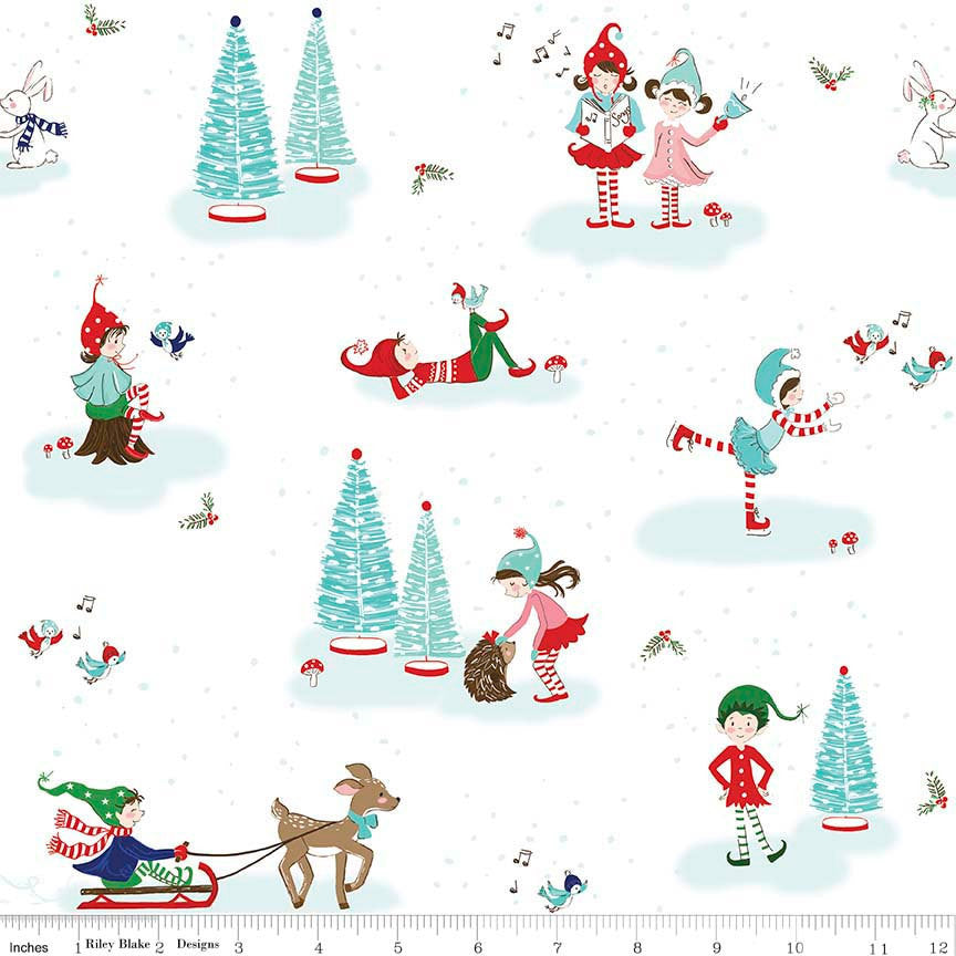 Pixie Noel Main White by Riley Blake Designs - Christmas Trees Ice Skating - Quilting Cotton Fabric - choose your cut