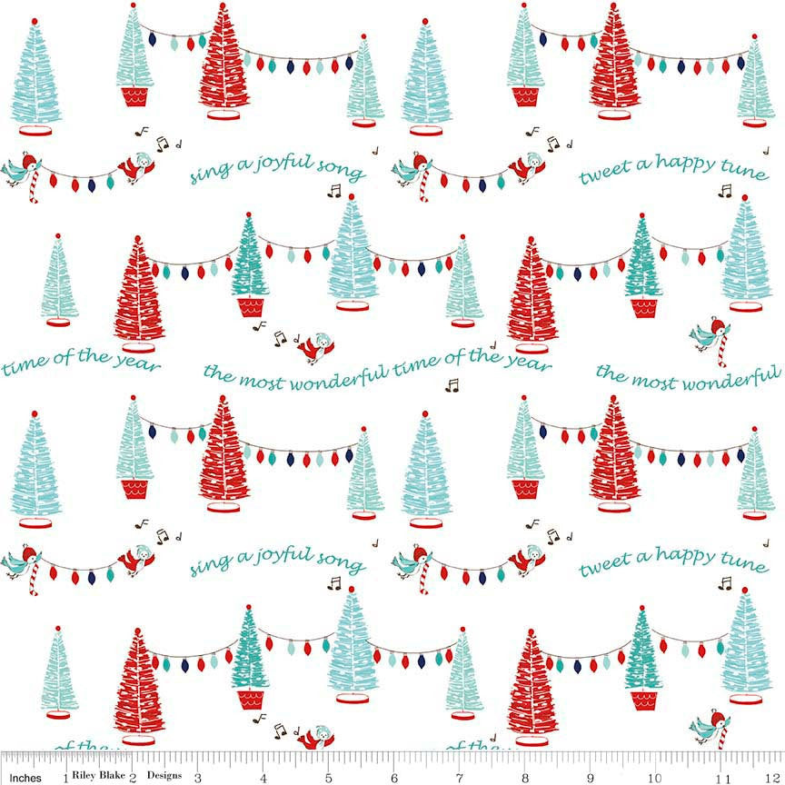 Pixie Noel Trees White by Riley Blake Designs - Christmas Trees Lights - Quilting Cotton Fabric - choose your cut