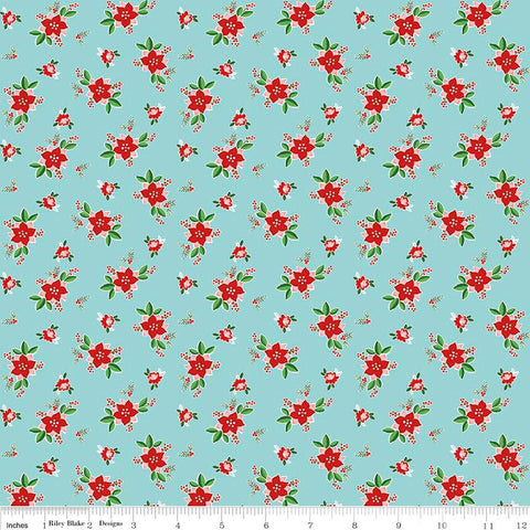 SALE Pixie Noel Floral Aqua - Riley Blake Designs - Christmas Flowers Red Blue - Cotton Woven Quilt Fabric -choose your cut