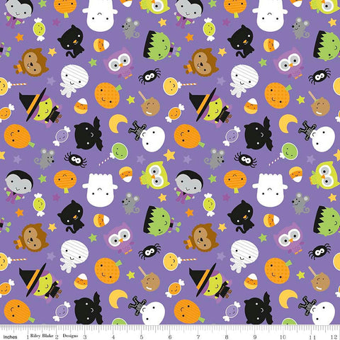Ghouls and Goodies Main Purple Riley Blake Designs Halloween Jersey KNIT cotton lycra spandex stretch fabric