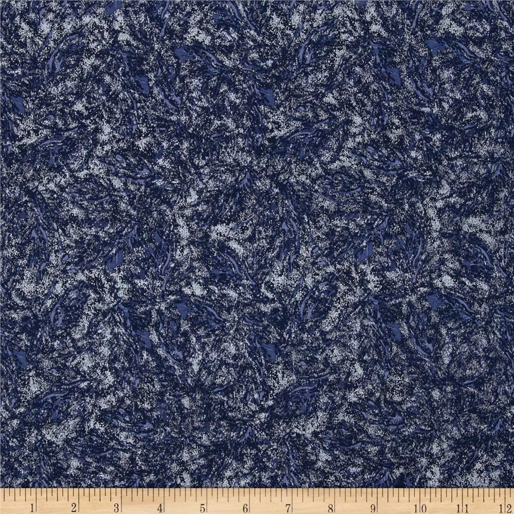 Sparkle Navy Shimmer Silver Metallic by Riley Blake Designs - Blue Semisolid - Quilting Cotton Fabric