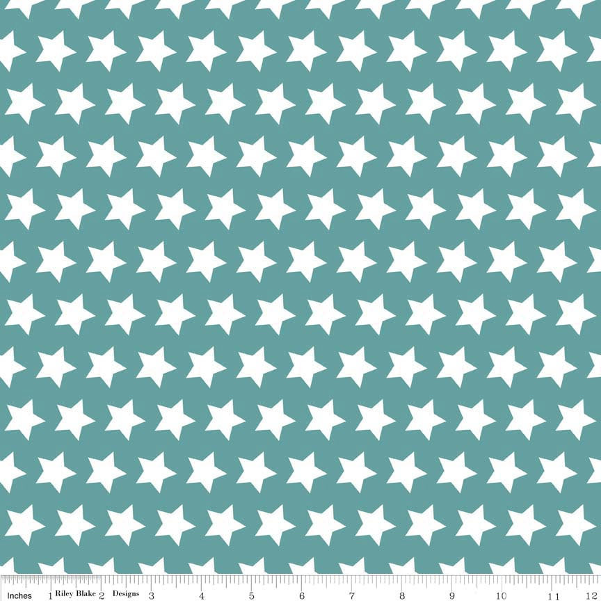 Teal and White Stars Basic by Riley Blake Designs - Cotton Fabric - Quilt Fabric