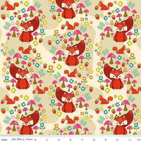Acorn Valley Main Cream by Riley Blake Designs - Foxes - Jersey KNIT cotton lycra spandex stretch fabric