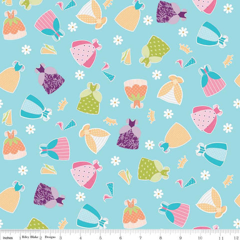 CLEARANCE Dream and A Wish Dresses Blue - Riley Blake Designs - Princess Girl DressUp - Quilting Cotton Fabric - 16' end of bolt