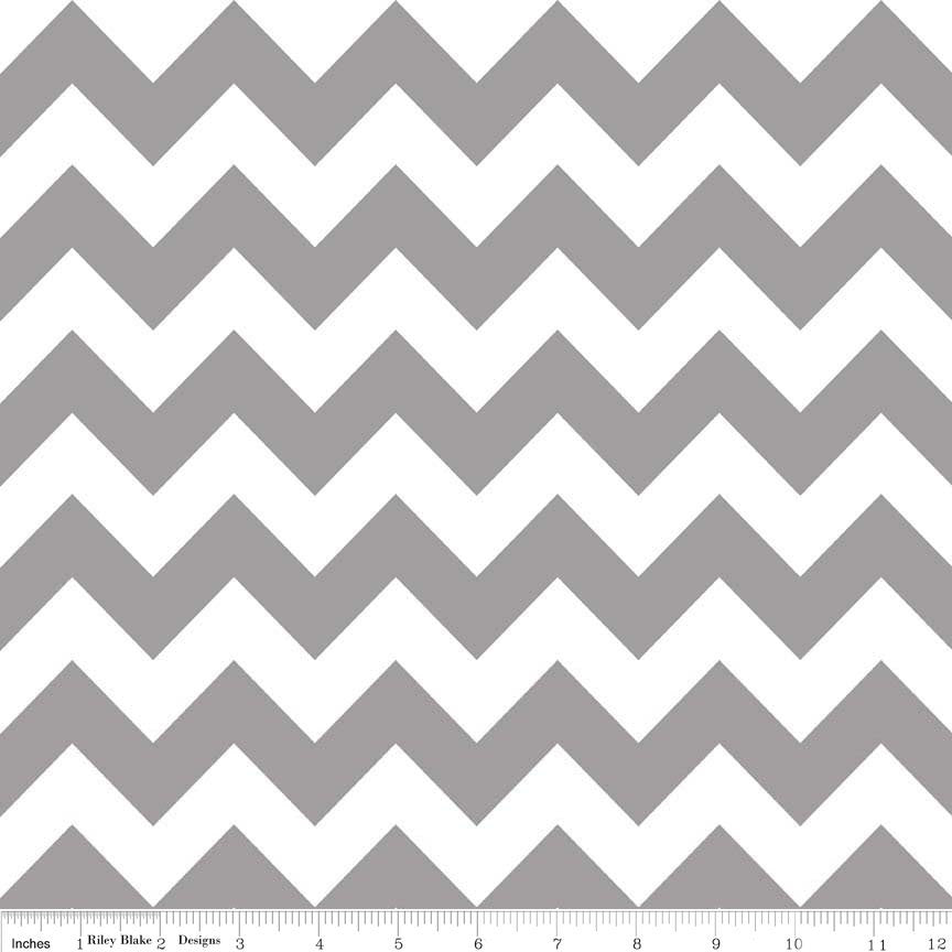 SALE Gray  Medium Chevron by Riley Blake Designs - Gray and White - Quilting Cotton Fabric - choose your cut