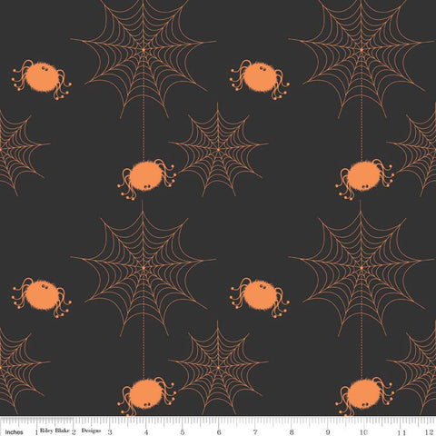CLEARANCE Spider Webs Black by Riley Blake Designs - Halloween Holiday Basic - Quilting Cotton Fabric - by the yard