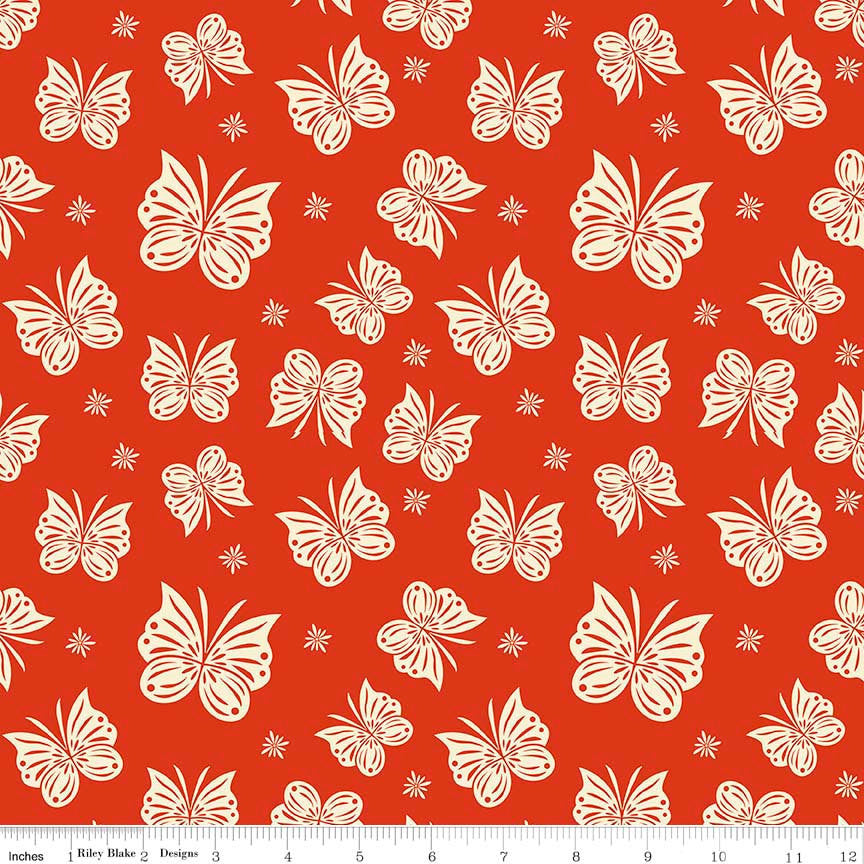 SALE Acorn Valley Flutter Red by Riley Blake Designs Butterflies - Jersey KNIT cotton lycra spandex stretch fabric - choose your cut