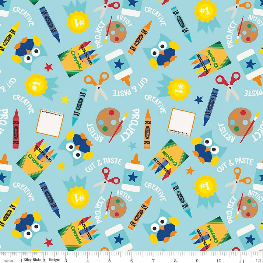 Colorfully Creative Crayola Color Me Main Blue - Riley Blake Designs - Owls - Cotton Woven Quilt Fabric