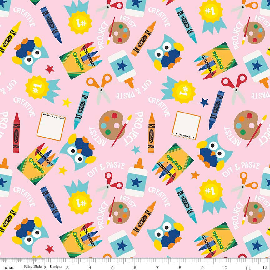 SALE Colorfully Creative Crayola Color Me Main Pink by Riley Blake Designs - Owls - Quilting Cotton Fabric - choose your cut