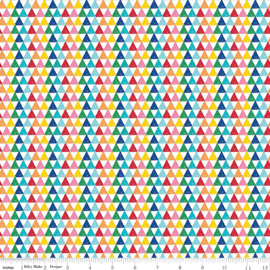 Colorfully Creative Crayola Color Me Triangles Multi - Riley Blake Designs - Rainbow - Quilting Cotton Fabric - choose your cut