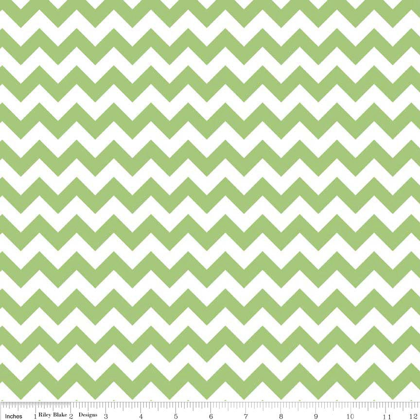 Green and White Chevron Small by Riley Blake Designs - Christmas - Quilting Cotton Fabric - choose your cut