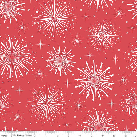 Parade on Main Fireworks Red by Riley Blake Designs - Patriotic USA July - Quilting Cotton Fabric - by the yard half yard