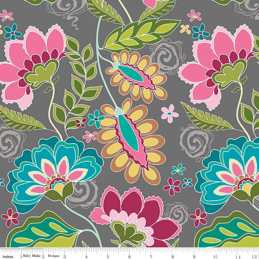 Fantine Main Gray by Riley Blake Designs - Floral Flowers - Jersey KNIT cotton lycra spandex stretch fabric - choose your cut