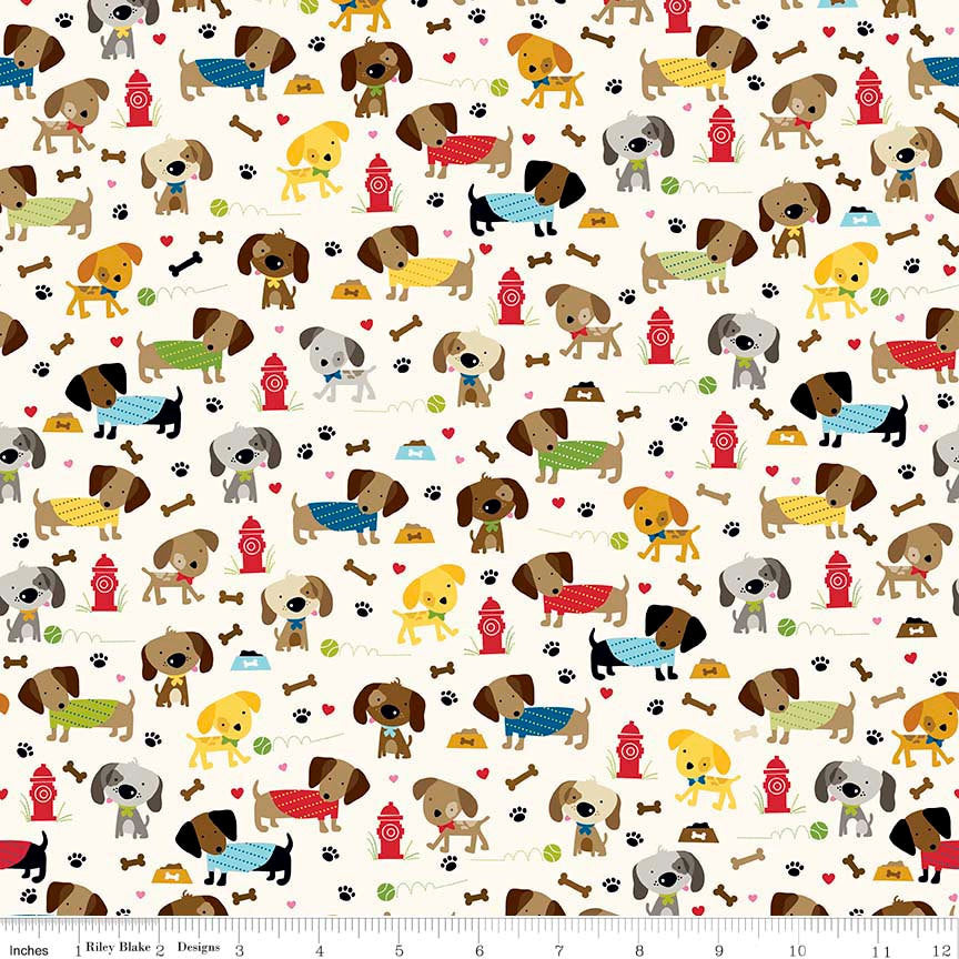 Rover Dog Park Cream by Riley Blake Designs - Puppy Bones - Jersey KNIT cotton lycra spandex stretch fabric - choose your cut