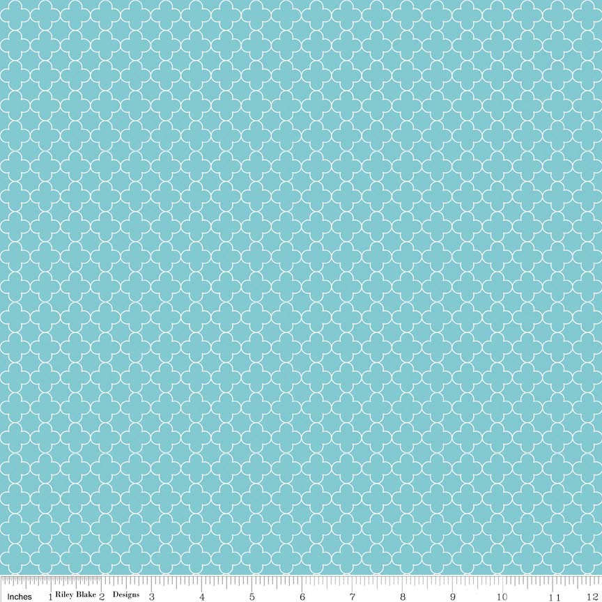 Mini Quatrefoil Aqua by Riley Blake Designs - Blue - Quilting Cotton Fabric