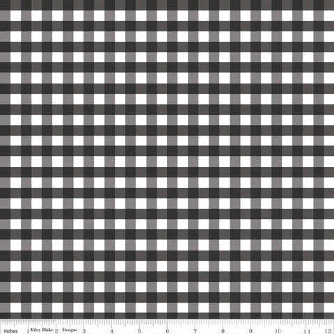 "Black and White Medium PRINTED Gingham 1/4"" Quarter Inch - Riley Blake Designs - Checker - Quilting Cotton Fabric"