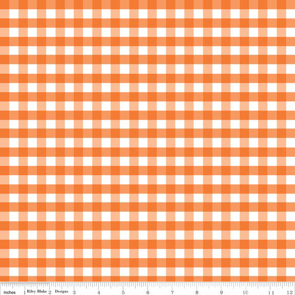 "Orange and White Medium 1/4"" Quarter Inch PRINTED Gingham - Riley Blake Designs - Checker - Quilting Cotton Fabric"