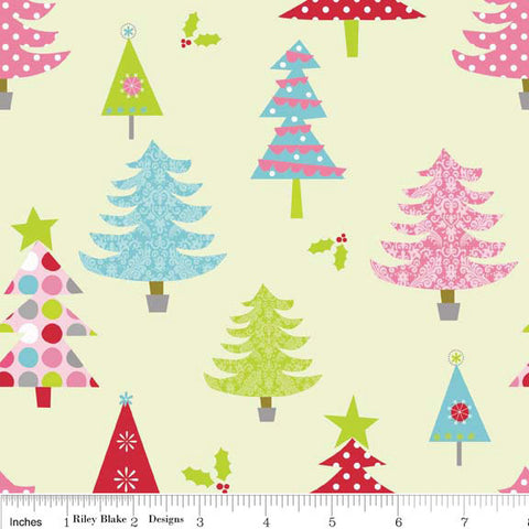 Christmas Basics Tree Lime by Riley Blake Designs - Green Holiday Trees - Quilting Cotton Fabric