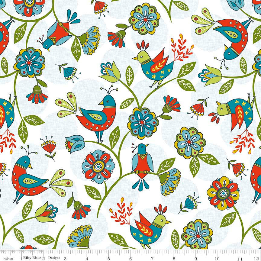 CLEARANCE Dutch Treat Main White by Riley Blake Designs - Birds Floral - Quilting Cotton Fabric - choose your cut