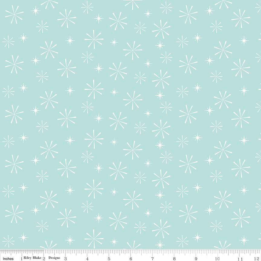 Nutcracker Christmas Snowflakes Aqua by Riley Blake Designs - Blue Christmas - Quilting Cotton Fabric - choose your cut