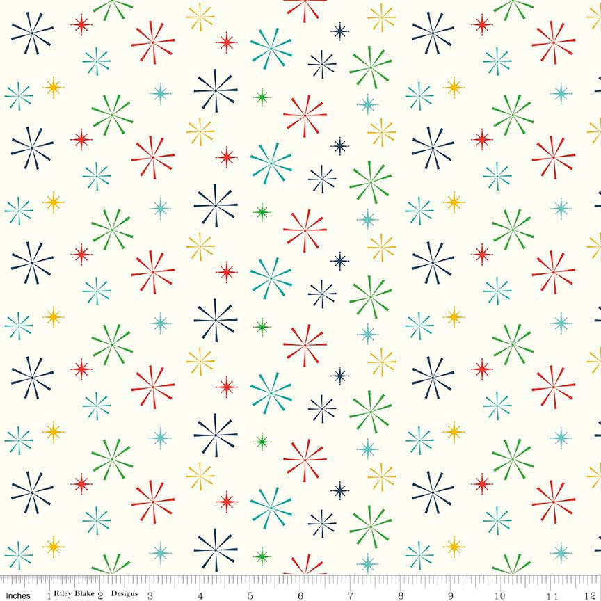 Nutcracker Christmas Snowflakes Multi by Riley Blake Designs Cream Christmas - Quilting Cotton Fabric