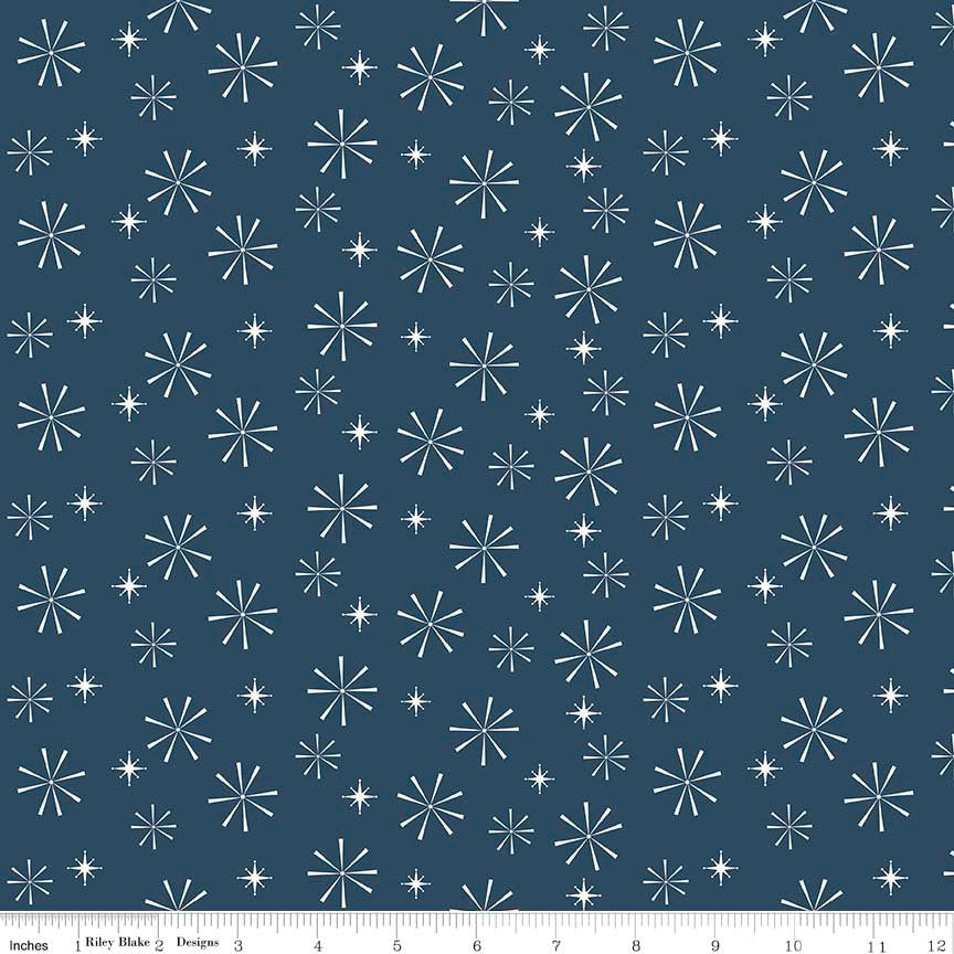 CLEARANCE Nutcracker Christmas Snowflakes Navy by Riley Blake Designs - Blue Christmas - Quilting Cotton Fabric - by the yard