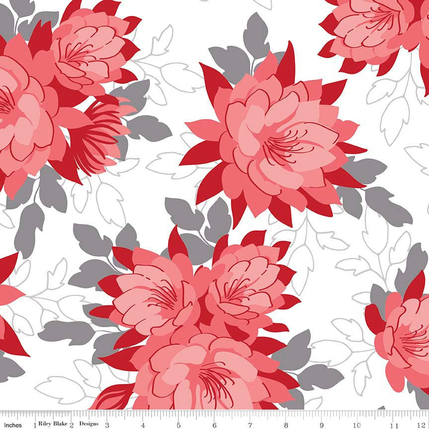 Desert Bloom Main Red - Riley Blake Designs - White Pink Flowers Floral - Quilting Cotton Fabric