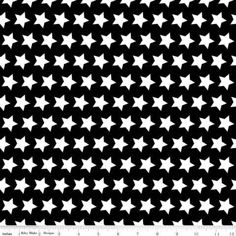 "Black and White Stars Basic by Riley Blake Designs - Halloween - Quilting Cotton Fabric - 28"" end of bolt"