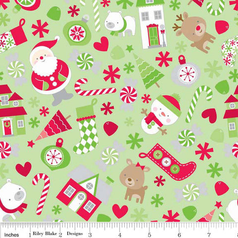 Christmas Basic Holidays Main Green - Riley Blake Designs - Santa - Jersey KNIT cotton lycra stretch fabric - choose your cut
