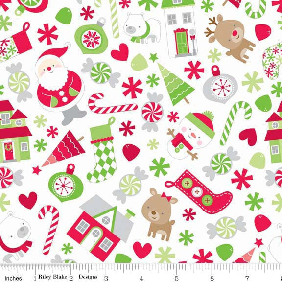 Holidays Main White - Santa Christmas - Riley Blake Designs - Jersey KNIT cotton lycra stretch fabric - choose your cut