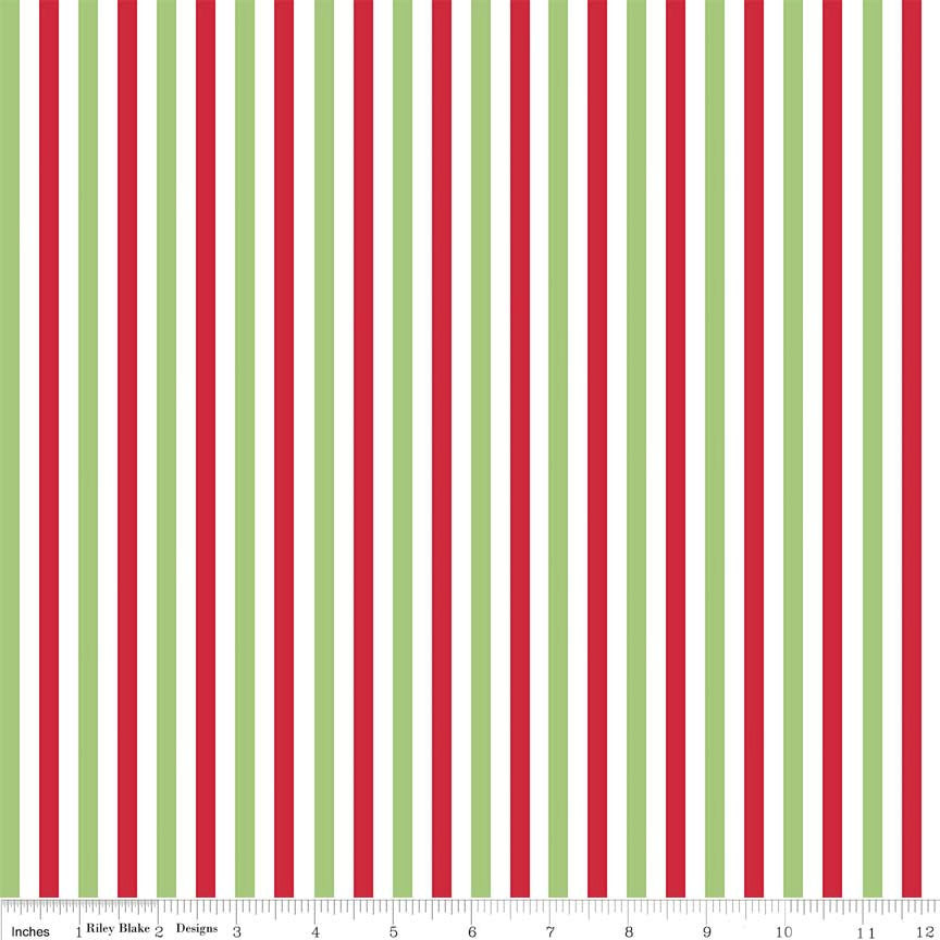 Christmas 1/4 Quarter Inch Stripe - Riley Blake Designs - Red Green- Jersey KNIT cotton lycra stretch fabric