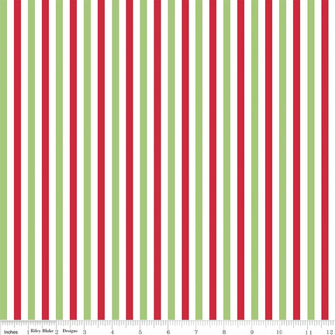 SALE Christmas 1/4 Quarter Inch Stripe - Riley Blake Designs - Red Green- Jersey KNIT cotton lycra stretch fabric - by the yard half quarter