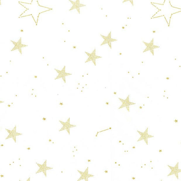 SALE Magic Lucky Stars White METALLIC by Sarah Jane for Michael Miller - Gold Star - Quilting Cotton Fabric - choose your cut